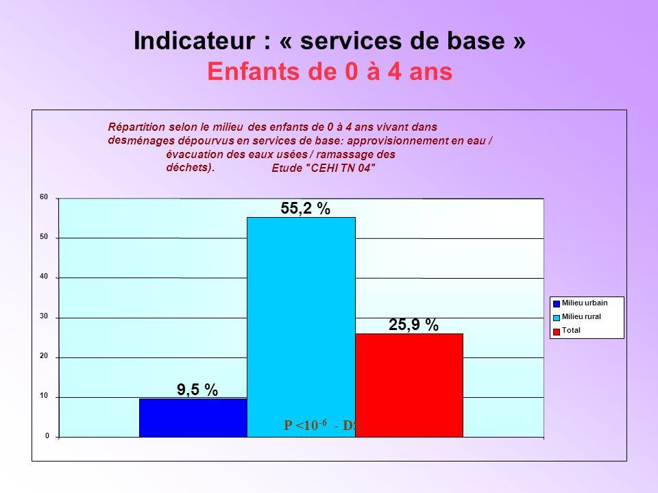 Indicateur : « services de base » Enfants de 0 à 4 ans