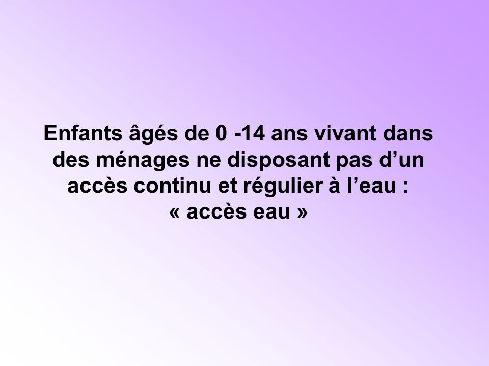 Enfants âgés de 0 -14 ans vivant dans des ménages ne disposant pas d'un accès continu et régulier à l'eau : « accès eau »