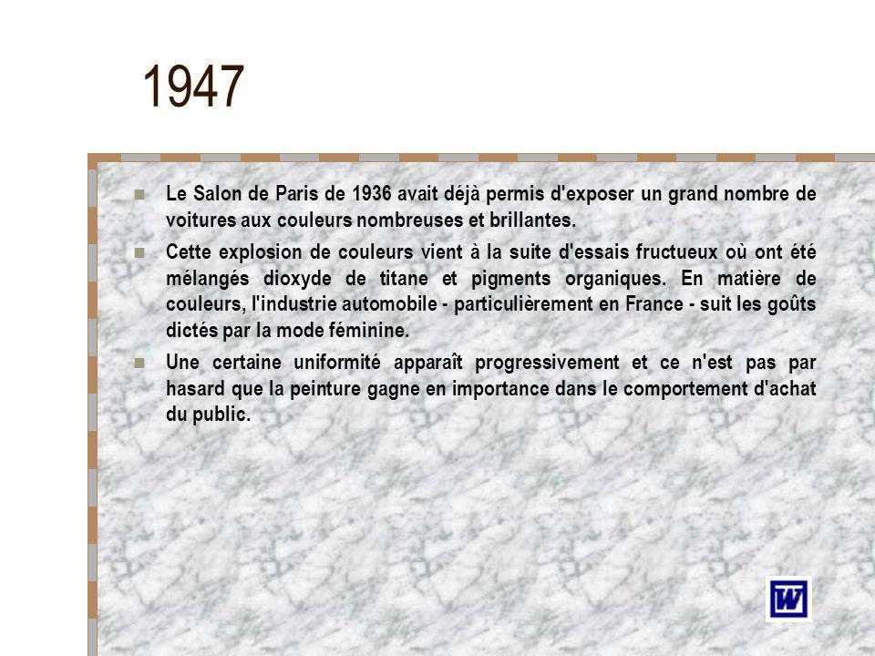 1947Le Salon de Paris de 1936 avait déjà permis d exposer un grand nombre de voitures aux couleurs nombreuses et brillantes.
