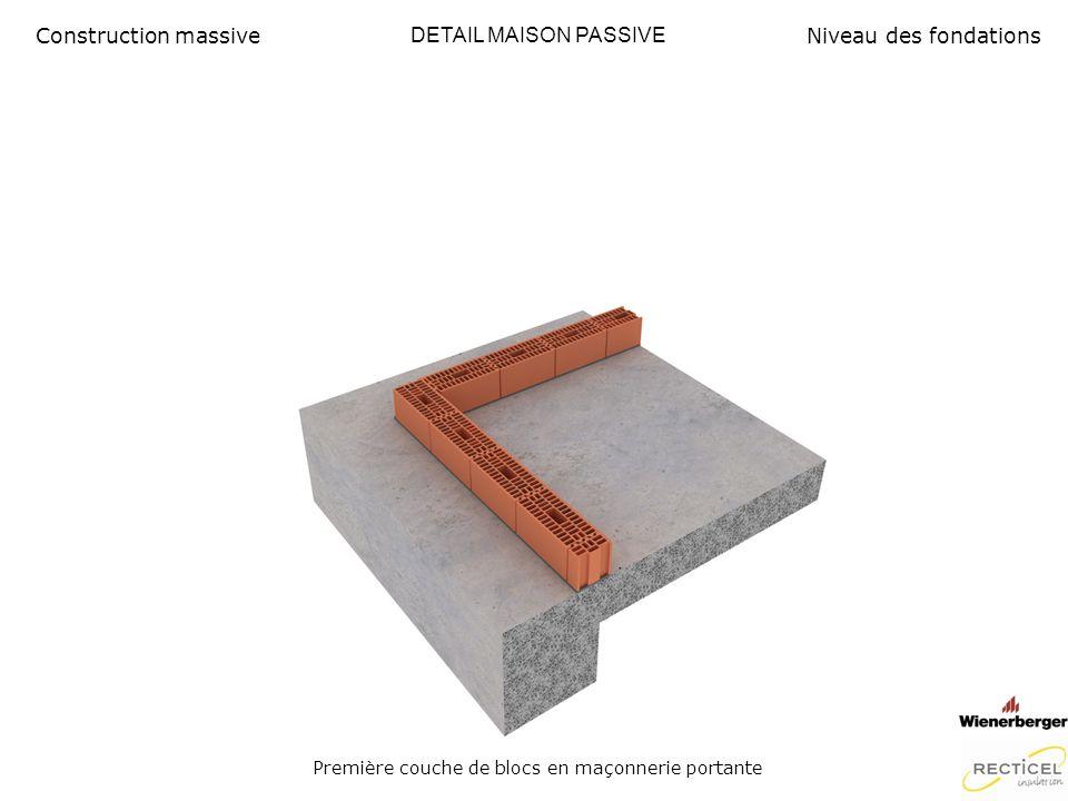 Première couche de blocs en maçonnerie portante