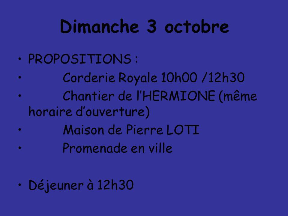 Dimanche 3 octobre PROPOSITIONS : Corderie Royale 10h00 /12h30
