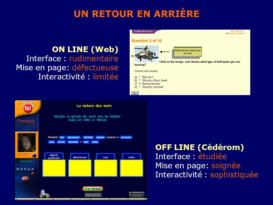 UN RETOUR EN ARRIÈRE ON LINE (Web) Interface : rudimentaire