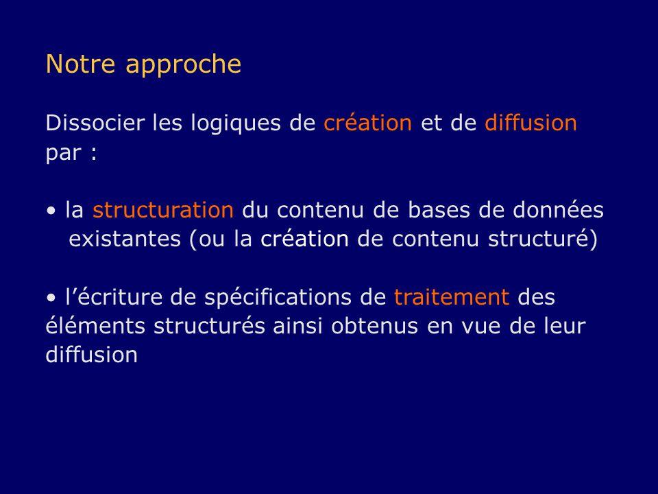 Notre approche Dissocier les logiques de création et de diffusion par :