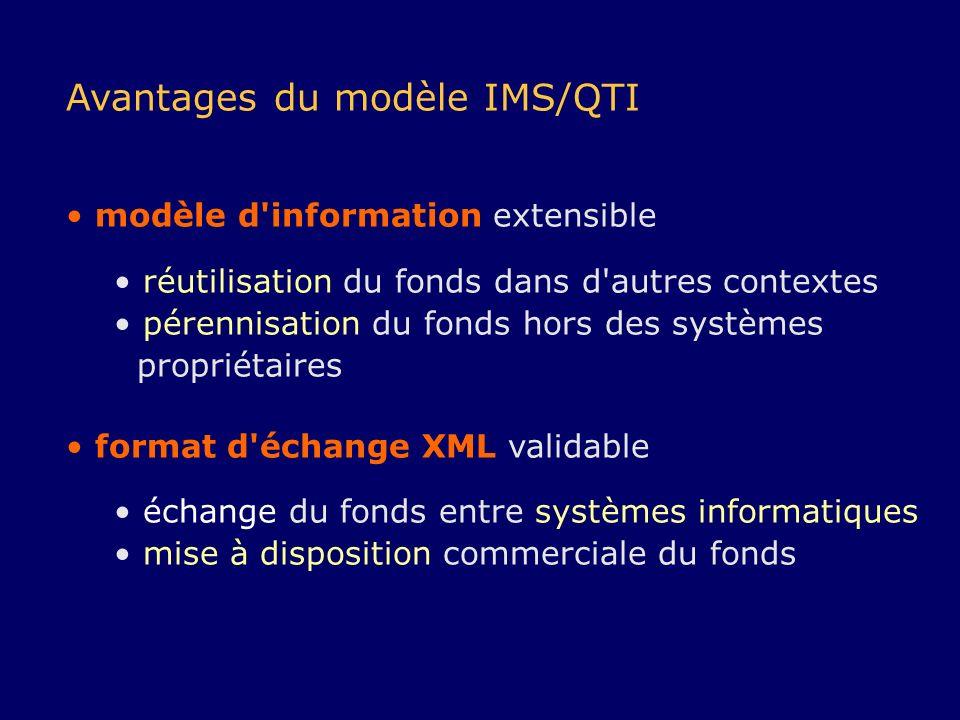 Avantages du modèle IMS/QTI