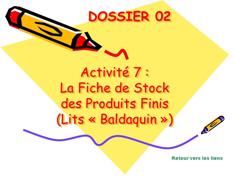 Activité 7 : La Fiche de Stock des Produits Finis (Lits « Baldaquin »)