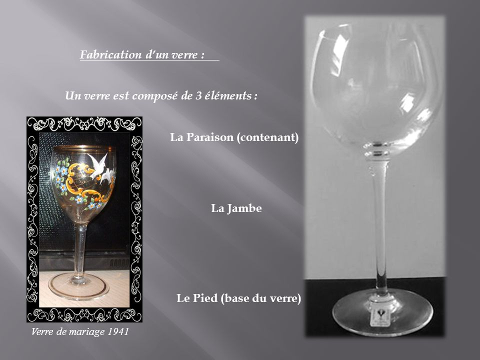 Fabrication d'un verre :