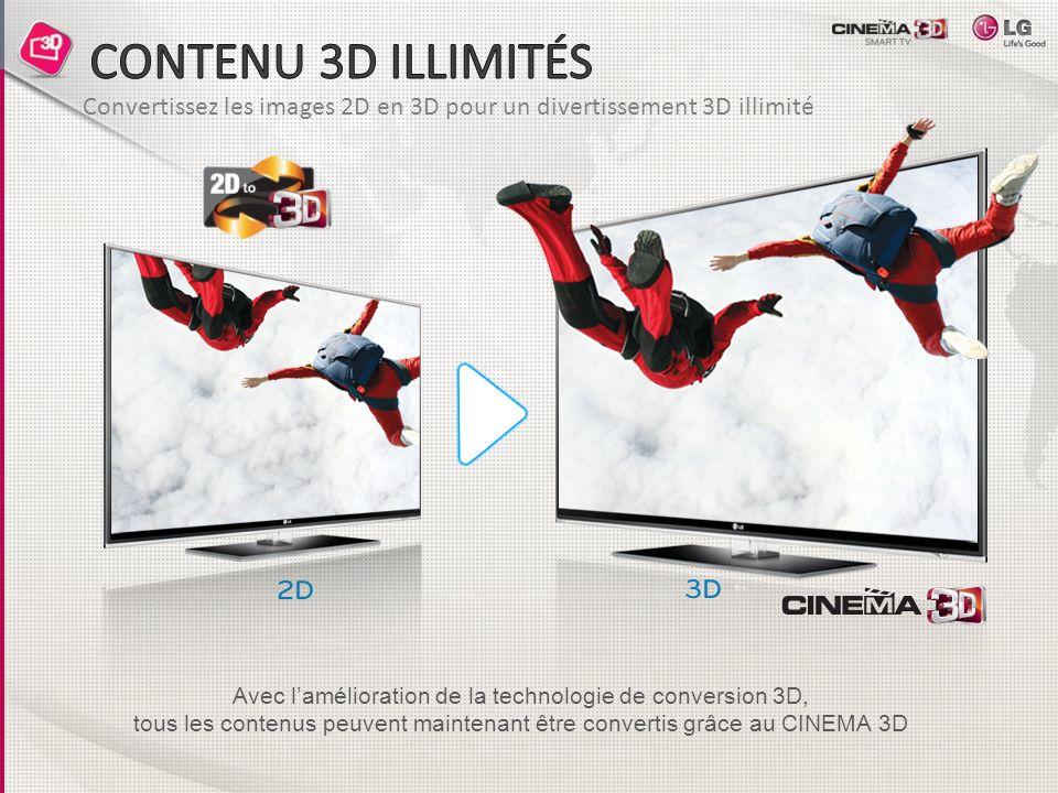 CONTENU 3D ILLIMITÉS Convertissez les images 2D en 3D pour un divertissement 3D illimité. Avec l'amélioration de la technologie de conversion 3D,