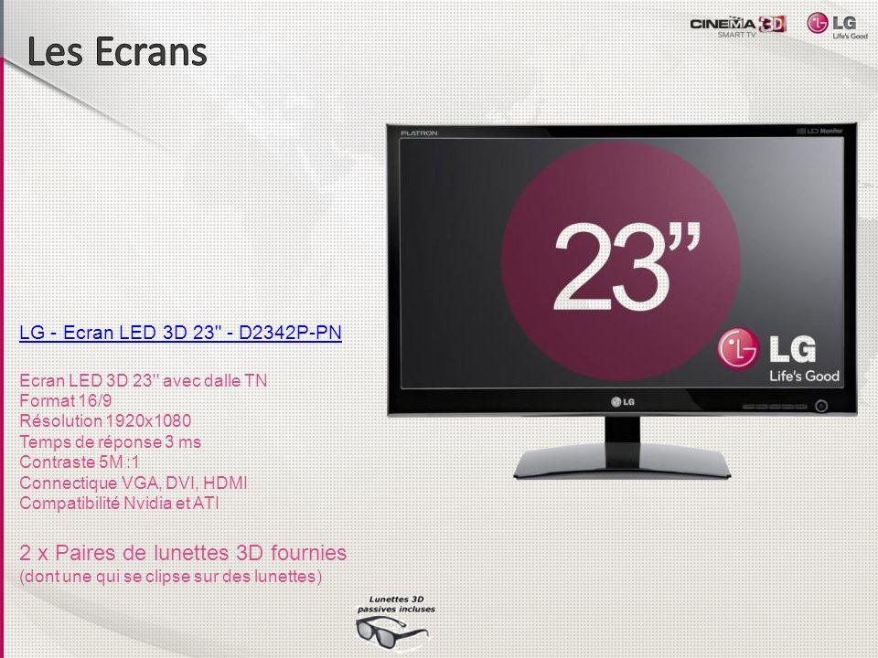 Les Ecrans 2 x Paires de lunettes 3D fournies