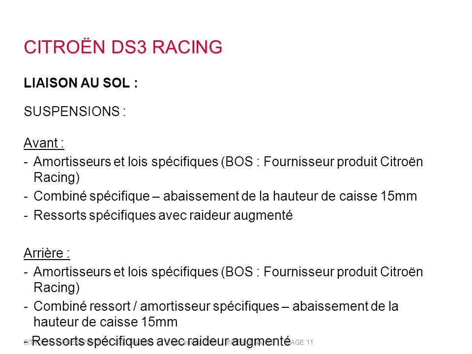 CITROËN DS3 RACING LIAISON AU SOL : SUSPENSIONS : Avant :