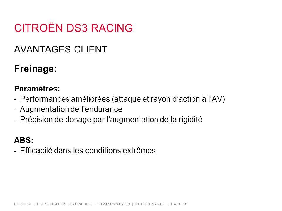 CITROËN DS3 RACING AVANTAGES CLIENT Freinage: Paramètres: