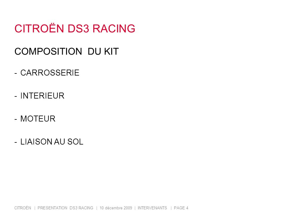 CITROËN DS3 RACING COMPOSITION DU KIT CARROSSERIE INTERIEUR MOTEUR