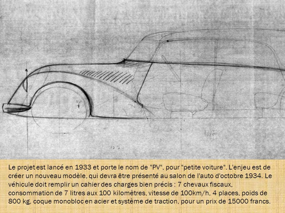 Le projet est lancé en 1933 et porte le nom de PV , pour petite voiture .