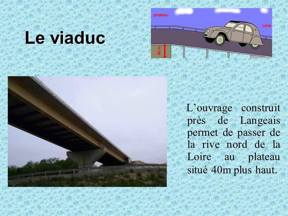Le viaduc L'ouvrage construit près de Langeais permet de passer de la rive nord de la Loire au plateau situé 40m plus haut.