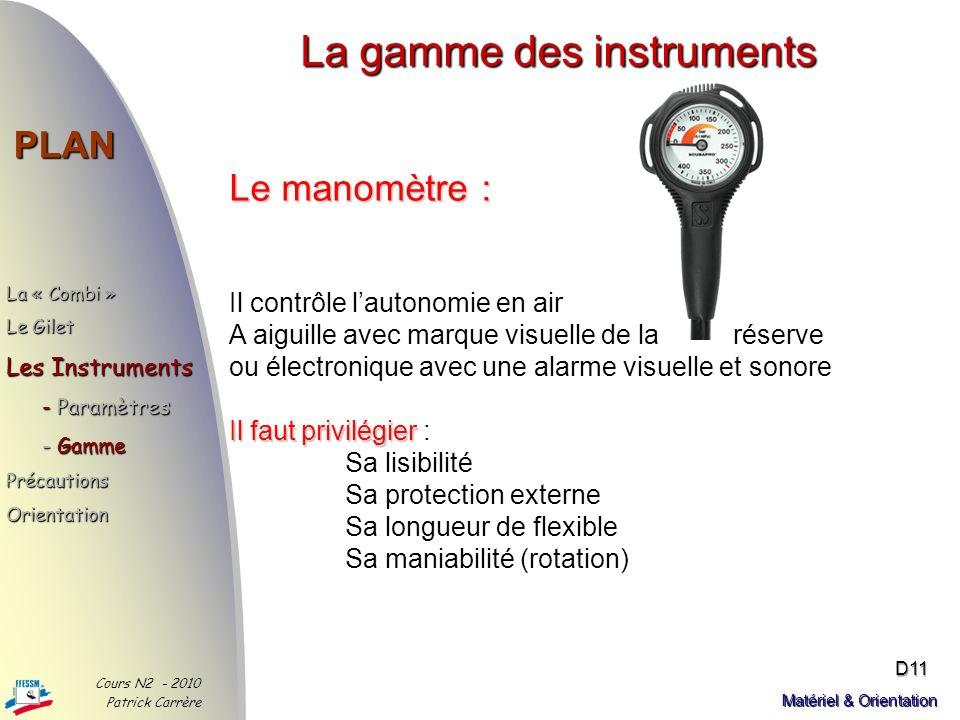 La gamme des instruments