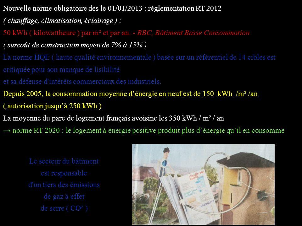 Nouvelle norme obligatoire dès le 01/01/2013 : réglementation RT 2012 ( chauffage, climatisation, éclairage ) :