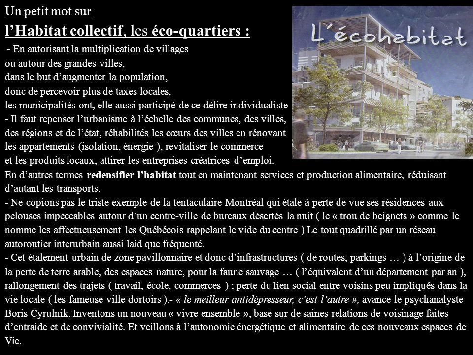 Un petit mot sur l'Habitat collectif, les éco-quartiers :