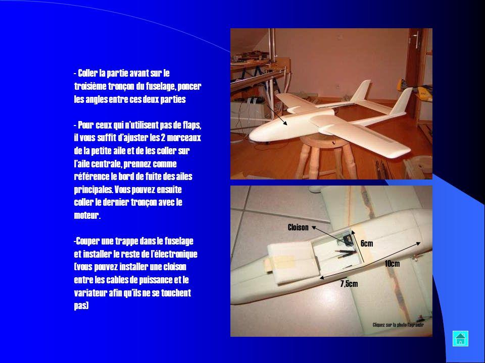 Coller la partie avant sur le troisième tronçon du fuselage, poncer les angles entre ces deux parties