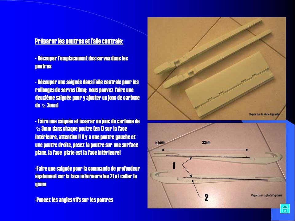 1 2 Préparer les poutres et l'aile centrale: