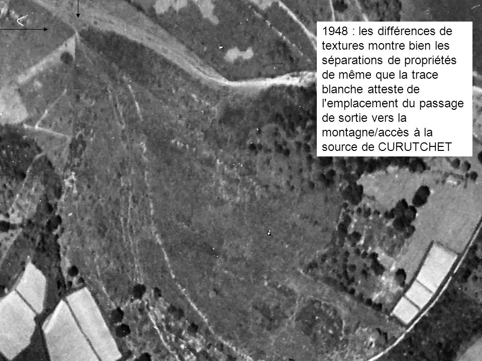 1948 : les différences de textures montre bien les séparations de propriétés de même que la trace blanche atteste de l emplacement du passage de sortie vers la montagne/accès à la source de CURUTCHET