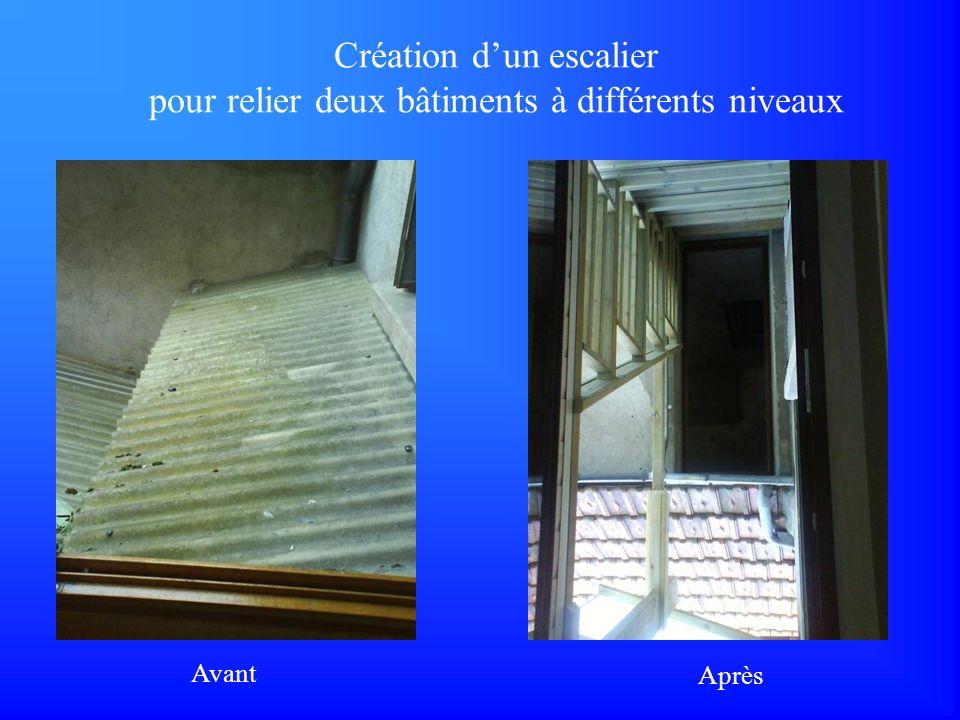 Création d'un escalier pour relier deux bâtiments à différents niveaux