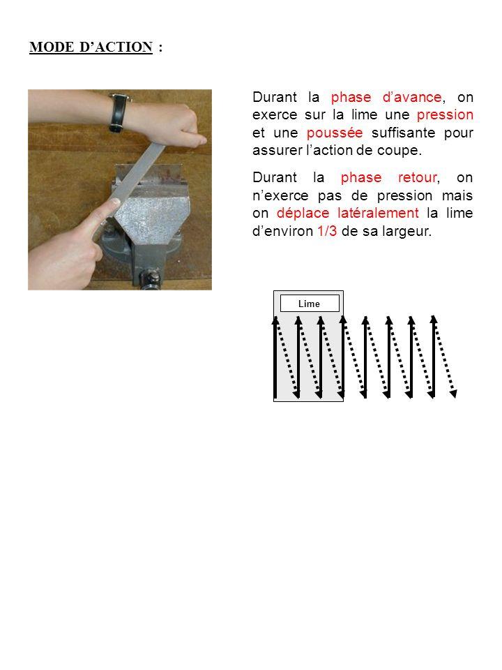 MODE D'ACTION : Durant la phase d'avance, on exerce sur la lime une pression et une poussée suffisante pour assurer l'action de coupe.