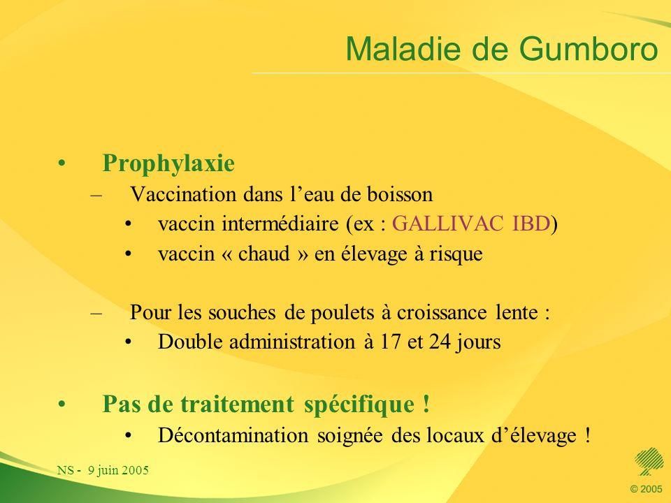 Maladie de Gumboro Prophylaxie Pas de traitement spécifique !
