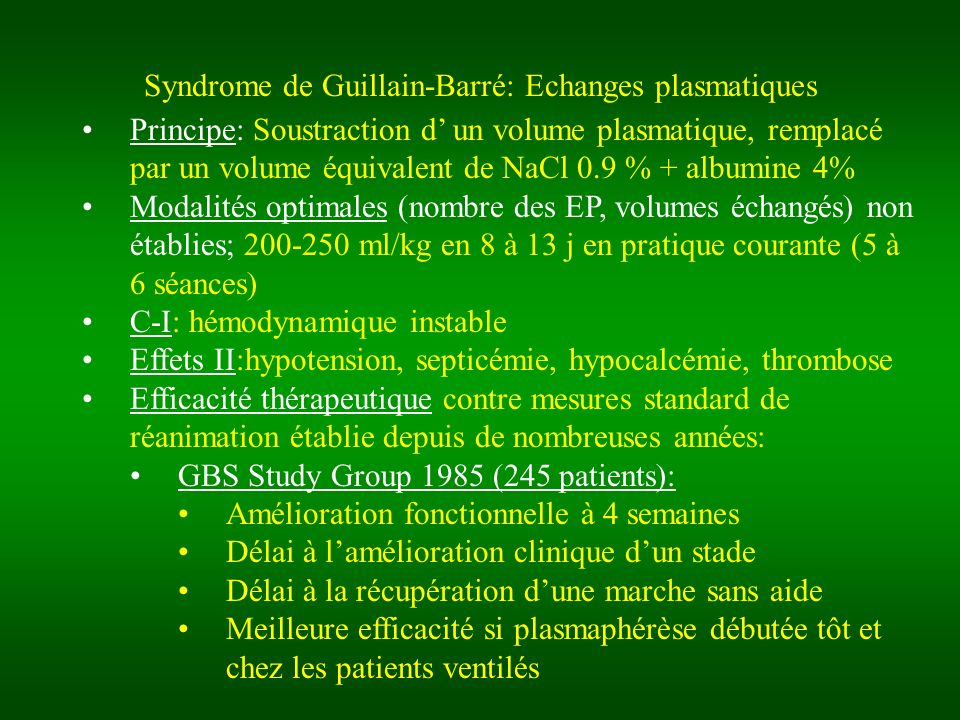 Syndrome de Guillain-Barré: Echanges plasmatiques