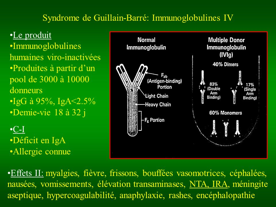 Syndrome de Guillain-Barré: Immunoglobulines IV