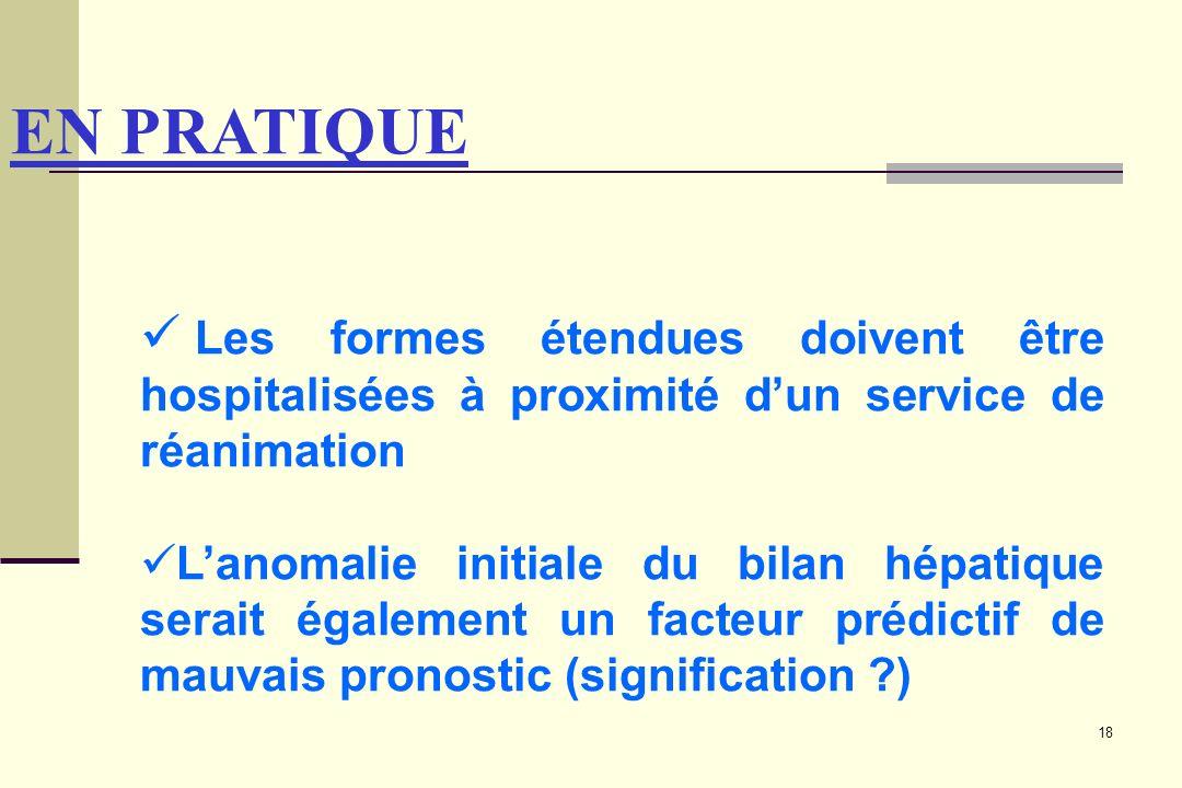 EN PRATIQUE Les formes étendues doivent être hospitalisées à proximité d'un service de réanimation.