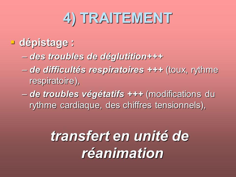 transfert en unité de réanimation