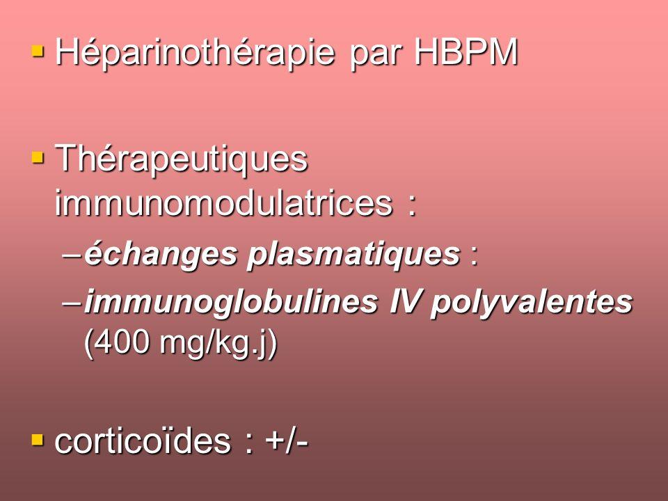 Héparinothérapie par HBPM Thérapeutiques immunomodulatrices :