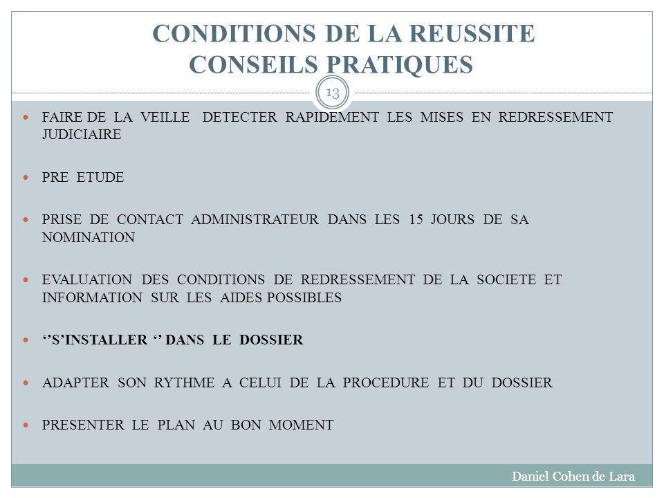 CONDITIONS DE LA REUSSITE CONSEILS PRATIQUES