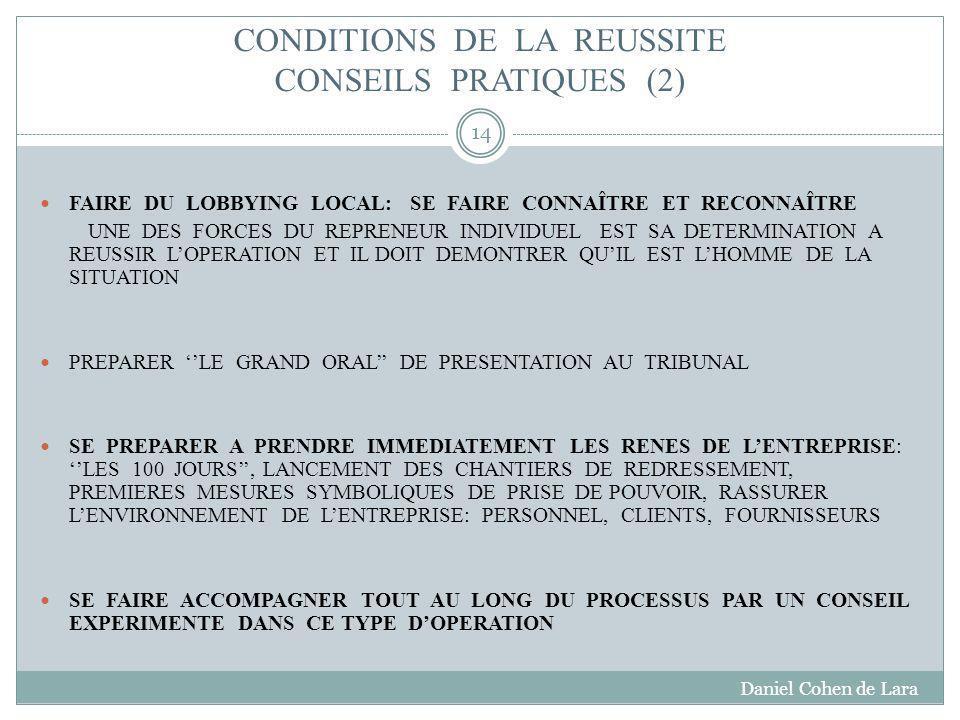 CONDITIONS DE LA REUSSITE CONSEILS PRATIQUES (2)