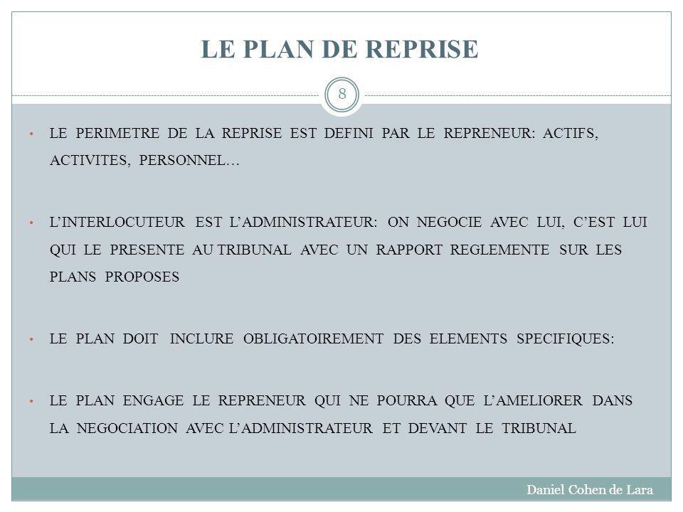 LE PLAN DE REPRISE LE PERIMETRE DE LA REPRISE EST DEFINI PAR LE REPRENEUR: ACTIFS, ACTIVITES, PERSONNEL…