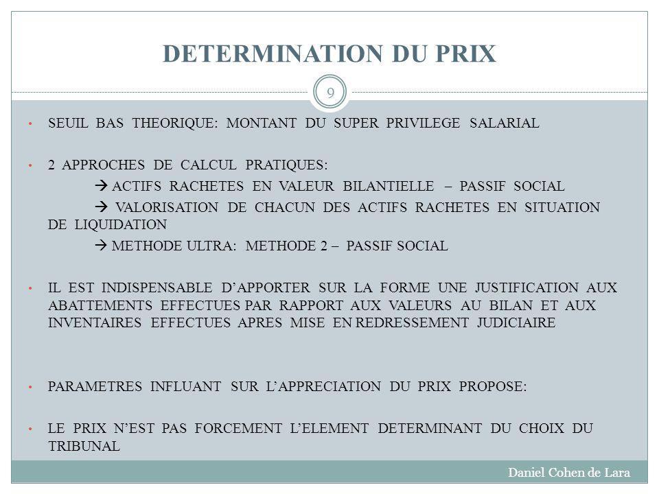 DETERMINATION DU PRIX SEUIL BAS THEORIQUE: MONTANT DU SUPER PRIVILEGE SALARIAL. 2 APPROCHES DE CALCUL PRATIQUES: