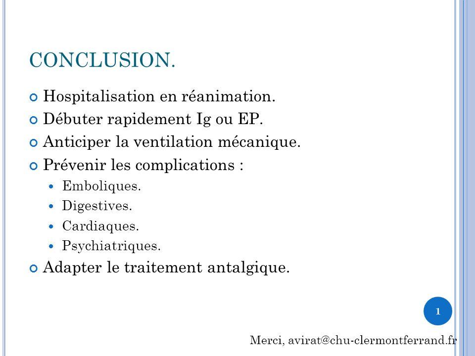 CONCLUSION. Hospitalisation en réanimation.