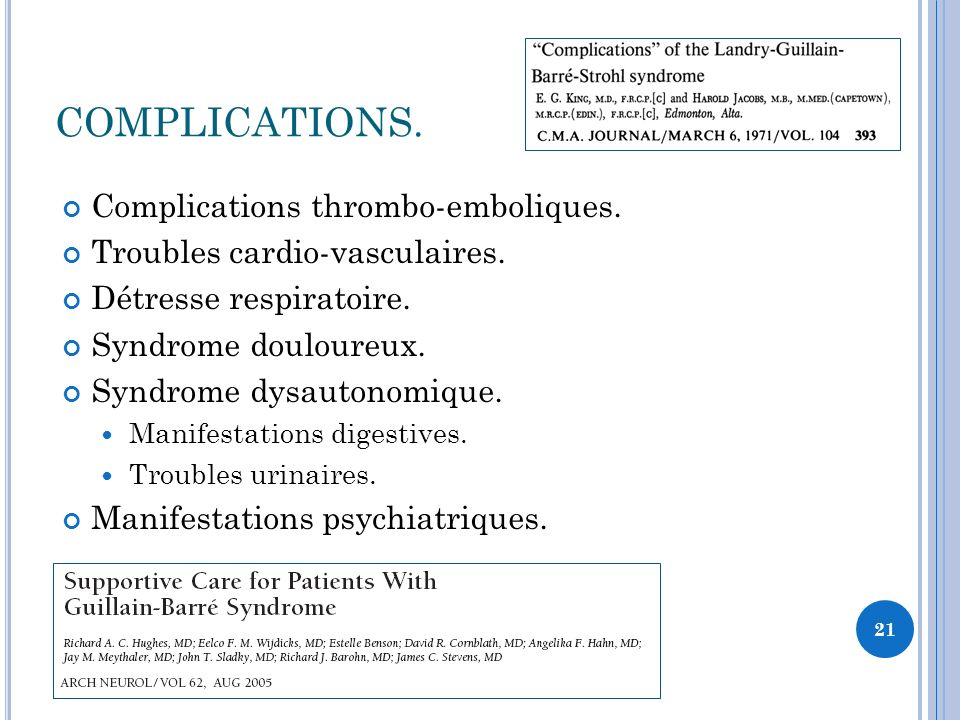 COMPLICATIONS. Complications thrombo-emboliques.