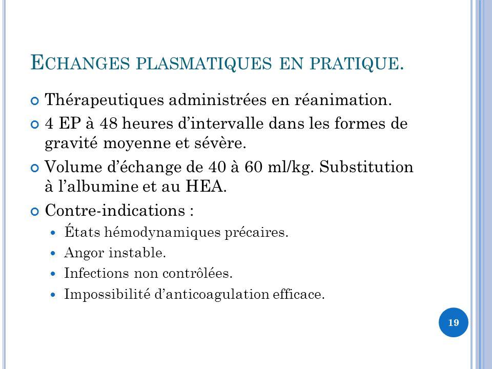 Echanges plasmatiques en pratique.