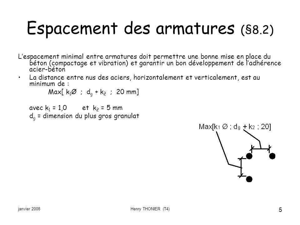 Espacement des armatures (§8.2)