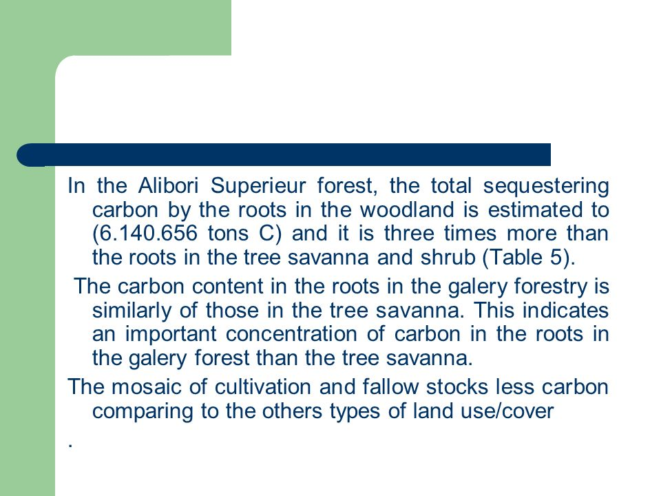 In the Alibori Superieur forest, the total sequestering carbon by the roots in the woodland is estimated to (6.140.656 tons C) and it is three times more than the roots in the tree savanna and shrub (Table 5).