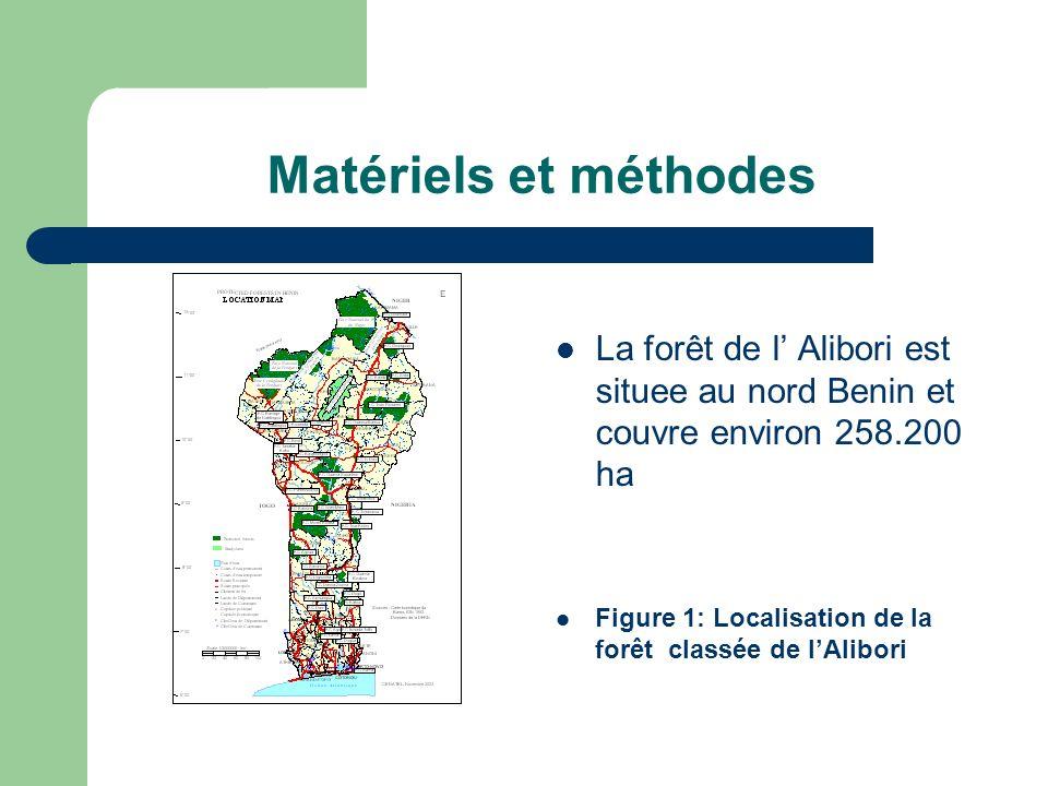 Matériels et méthodes La forêt de l' Alibori est situee au nord Benin et couvre environ 258.200 ha.