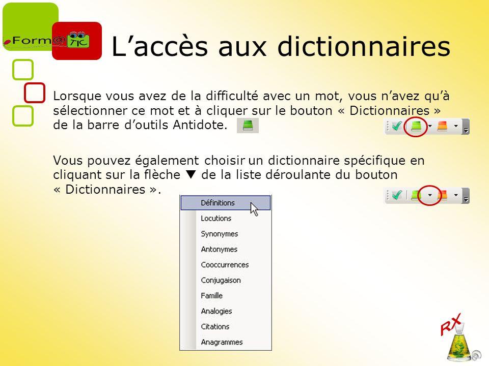 L'accès aux dictionnaires