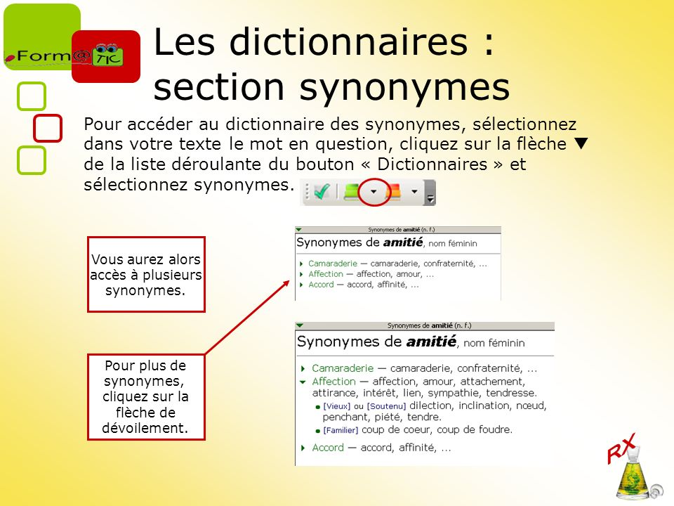 Les dictionnaires : section synonymes