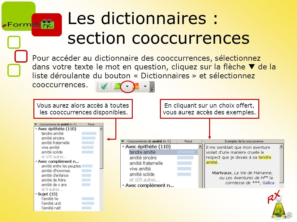 Les dictionnaires : section cooccurrences
