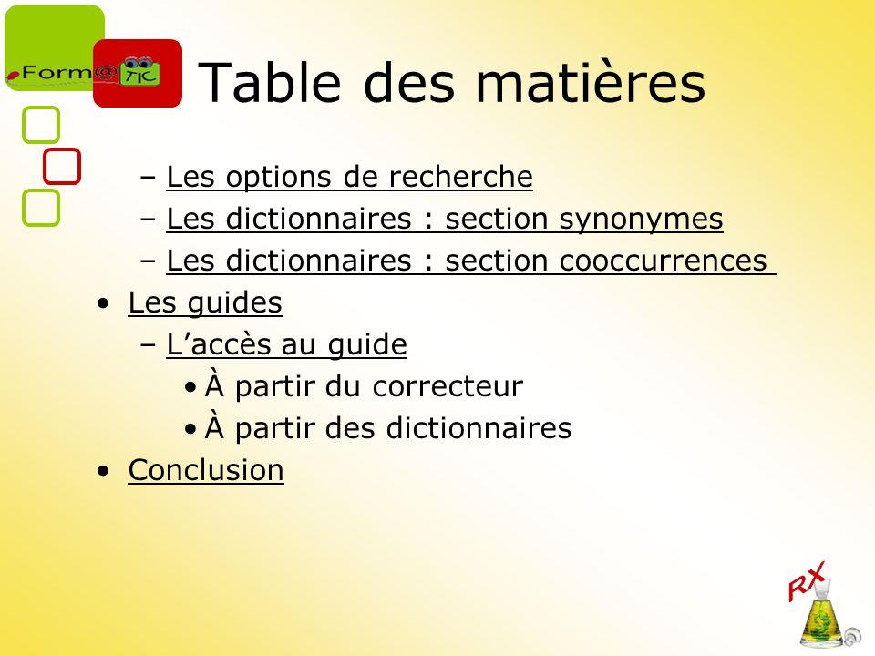 Table des matières Les options de recherche