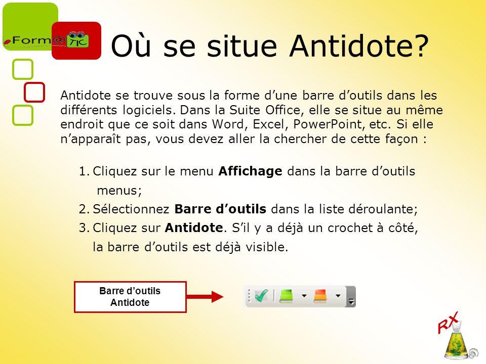 Où se situe Antidote