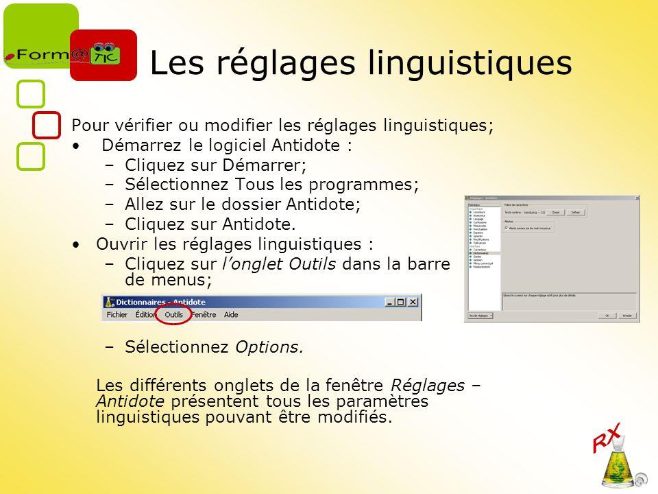 Les réglages linguistiques