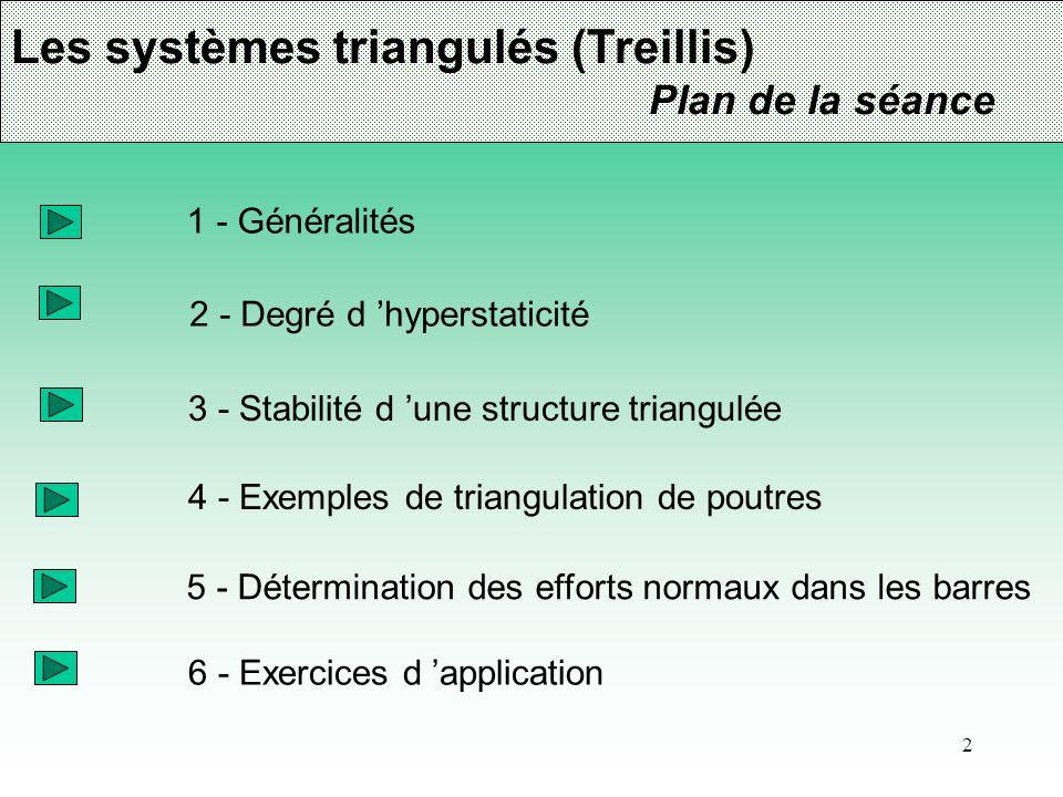 Les systèmes triangulés (Treillis)