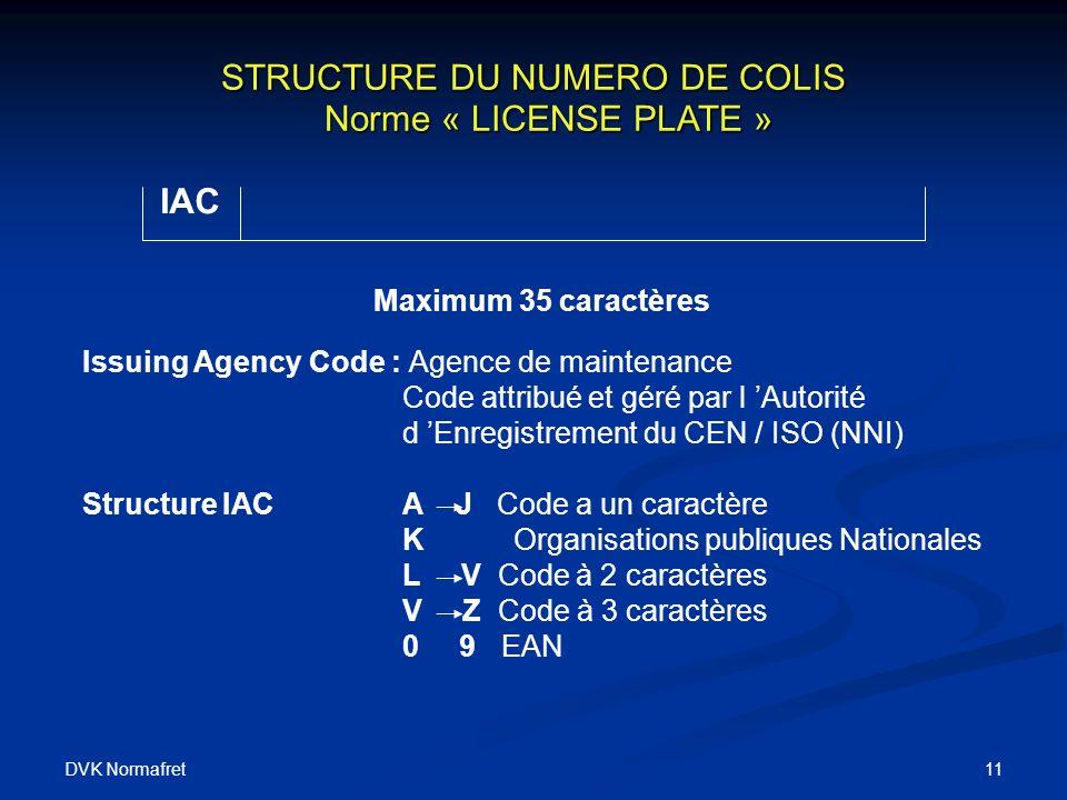 STRUCTURE DU NUMERO DE COLIS Norme « LICENSE PLATE »