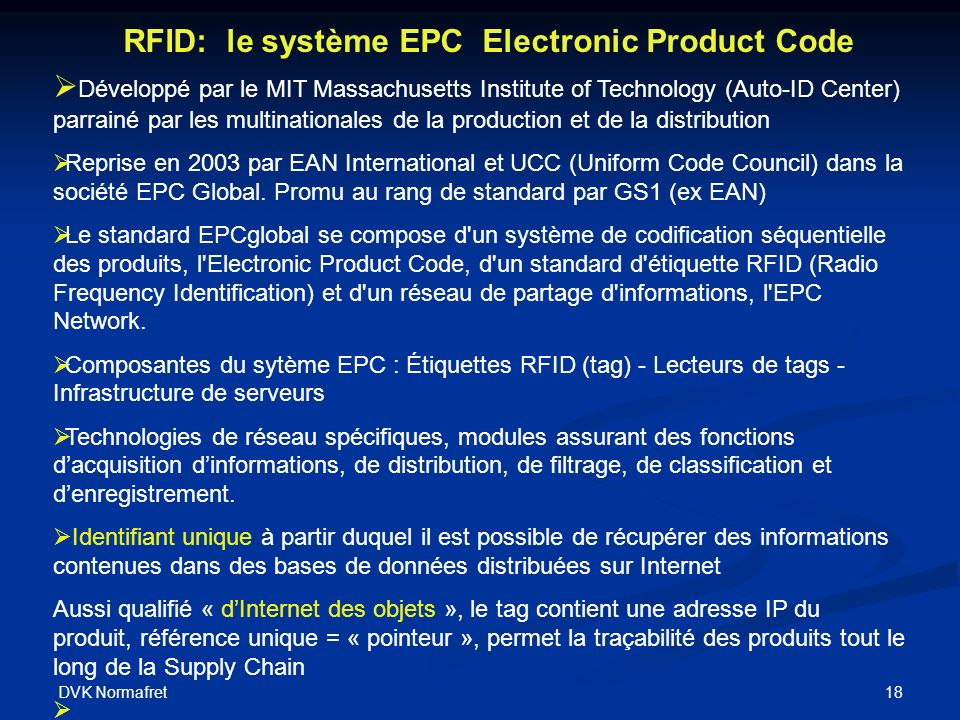 RFID: le système EPC Electronic Product Code